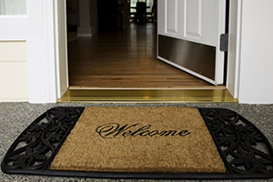 welcome mat at front door